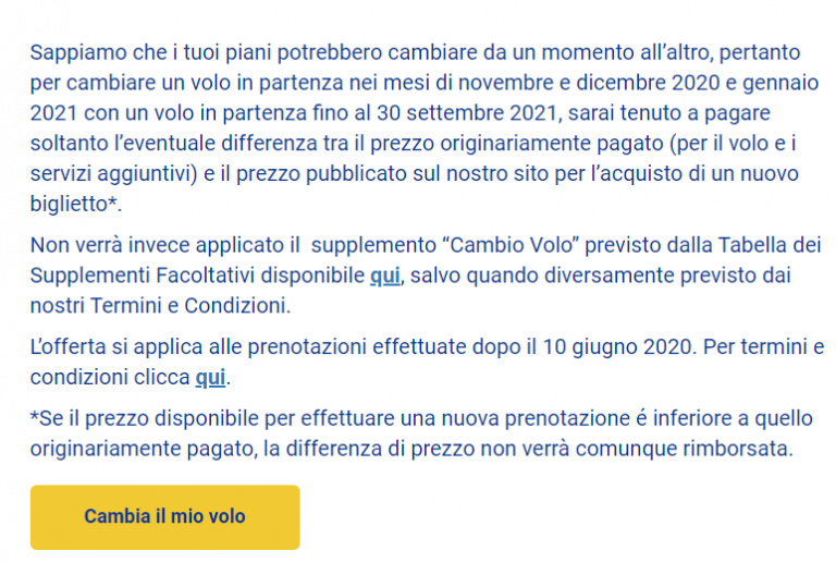 Ryanair: nessun supplemento per cambio data